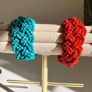 Jewelry - Pair of Beaded Bracelets Turquoise & Coral Colors